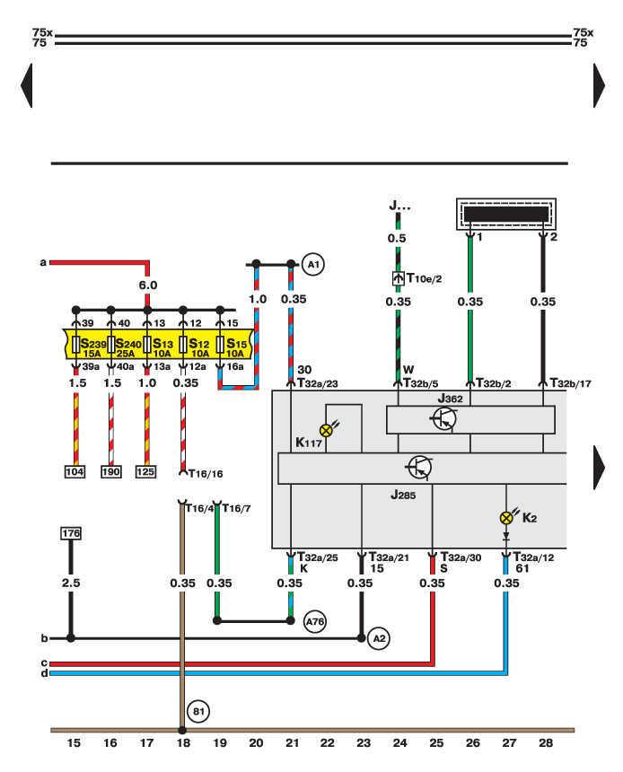 Диагностический разъем, лампы генератора и комбинации приборов - электросхема Фольксваген Пассат Б5