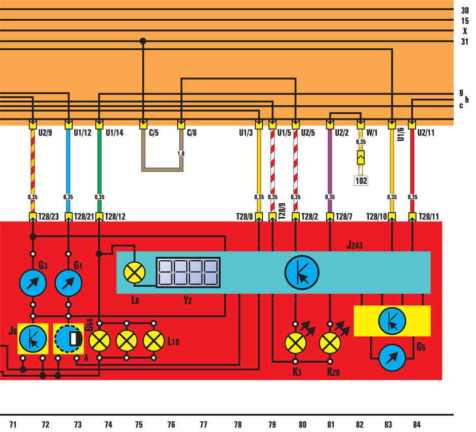 Комбинация приборов - электросхема Volkswagen Golf II
