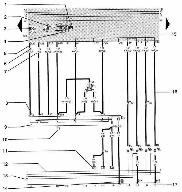 Символы на электрических схемах Фольксваген Пассат Б5