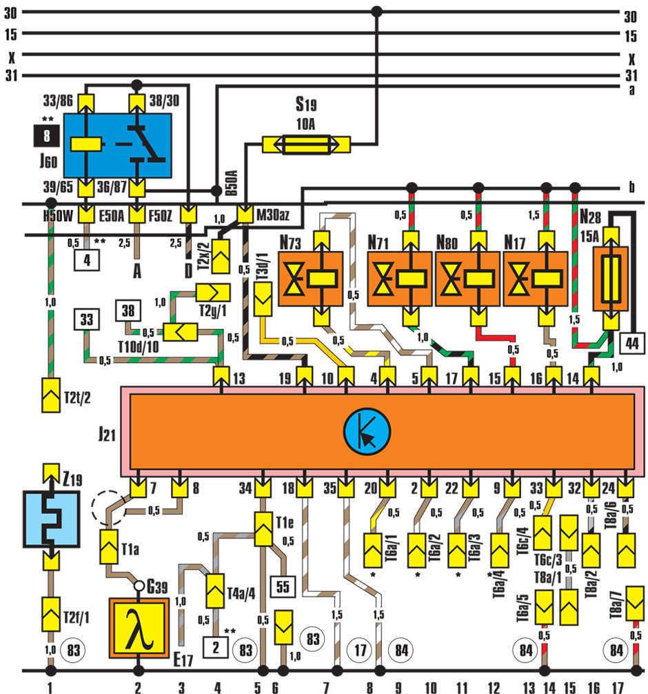 Обозначения на электрических схемах Volkswagen Golf II