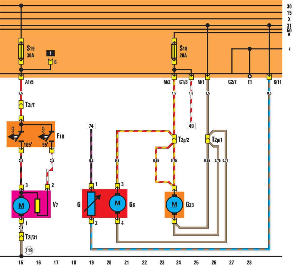 Вентилятор радиатора и отопителя - электросхема Volkswagen Golf II